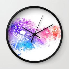 Watercolor Dandelion Wall Clock