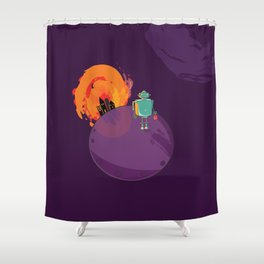 Robot's Day Out Shower Curtain