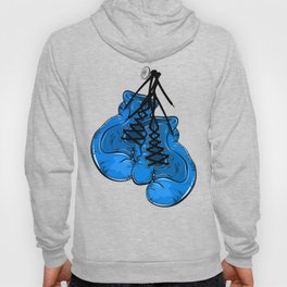 Blue boxing gloves hanging on a nail Hoody