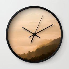 Modern Minimalist landscape Sepia Sunset Parallax Mountain Silhouette Wall Clock