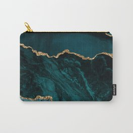 Teal Blue Emerald Marble Landscapes Carry-All Pouch