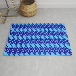 Braided diagonal pattern of wire and blue arrows on a light blue background. Rug