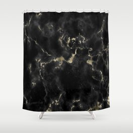 Modern abstract black gold trendy marble Shower Curtain