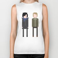 8 bit Biker Tanks featuring Sherlock 8-Bit by Raquel Segal