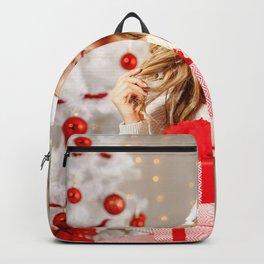 Images New year Blonde girl Smile female Winter ha Backpack