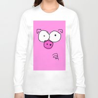 pig Long Sleeve T-shirts featuring Pig by Frances Roughton