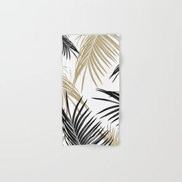 Gold Black Palm Leaves Dream #1 #tropical #decor #art #society6 Hand & Bath Towel