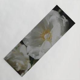 White Roses On Black Yoga Mat