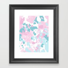Cruz - abstract painting pastel pink and blue minimal modern decor for office home Framed Art Print