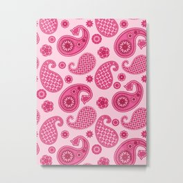 Paisley Pattern, Pastel Coral Pink and Fuchsia Metal Print