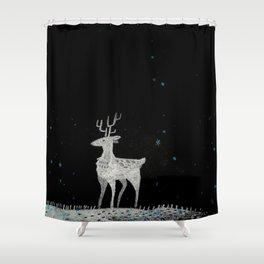 Deer in snow Shower Curtain