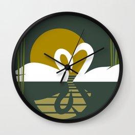 Swans at Sunset Wall Clock