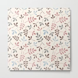 Assorted Leaf Silhouettes Pastel Colors Pattern Metal Print