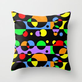 Rainbow Geometric Multicolored Modern Circle Pattern Throw Pillow