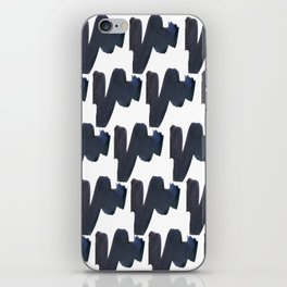 Navy blue black abstract watercolor zigzag brushstrokes pattern iPhone Skin