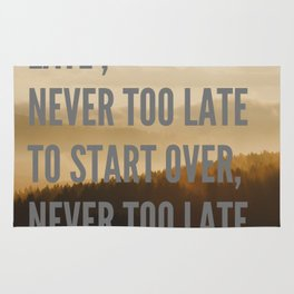 """Jane Fonda """" Never Too Late To Start Over, Never Too Late To Be Happy"""" Rug"""