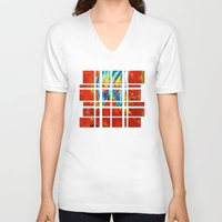 gemini V-neck T-shirts featuring Gemini by SteeleCat