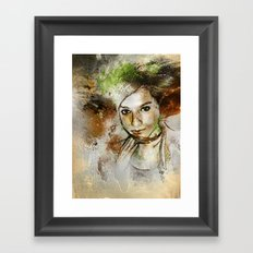Girl with Green Hair Framed Art Print