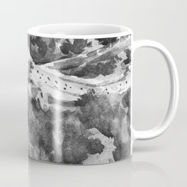 Great Wall of China Black and White Watercolor Painting Coffee Mug