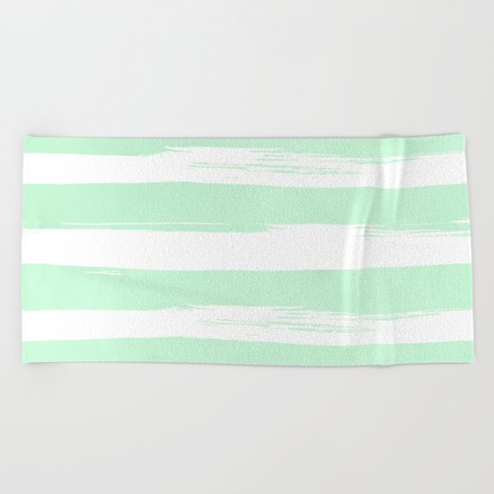 Stripes Mint Green and White Beach Towel