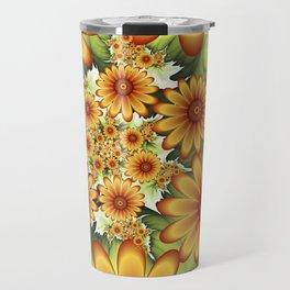 A Floral Dream Of Summer, Fractals Art Travel Mug