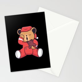 Tired bear in sleeping dress holding teddy bear Stationery Cards