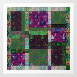 Lotus flower green and maroon stitched patchwork - woodblock print style pattern Art Print