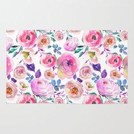 Elegant modern pink lilac orange watercolor floral Rug