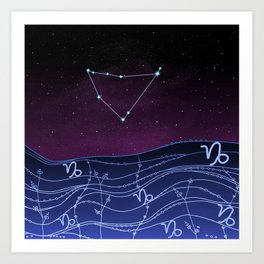 Capricorn Zodiac Constellation Design Art Print