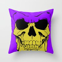 skeletor Throw Pillows featuring Skeletor by Dukesman