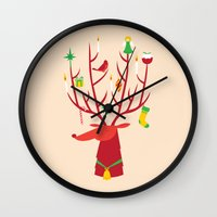 reindeer Wall Clocks featuring Reindeer by Wharton