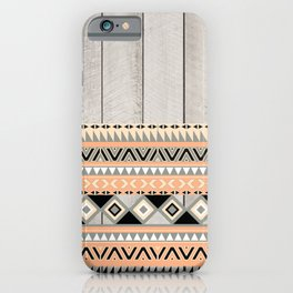 Peach Coral Andes Abstract Aztec Tribal Gray Wood iPhone Case