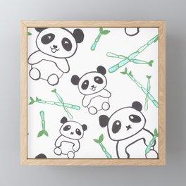 Cute Pandas and bamboos watercolor Framed Mini Art Print