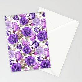 Violet lilac pink watercolor botanical roses floral Stationery Cards