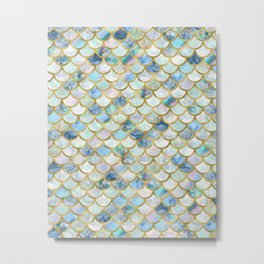 Mermaid Scales Pattern in Blue and Gold Metal Print