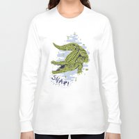 crocodile Long Sleeve T-shirts featuring Crocodile by Sam Jones Illustration
