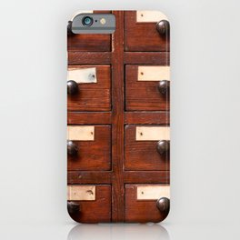 Backgrounds and textures: very old wooden cabinet with drawers iPhone Case
