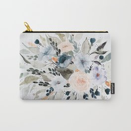 Loose Blue and Peach Floral Watercolor Bouquet  Carry-All Pouch