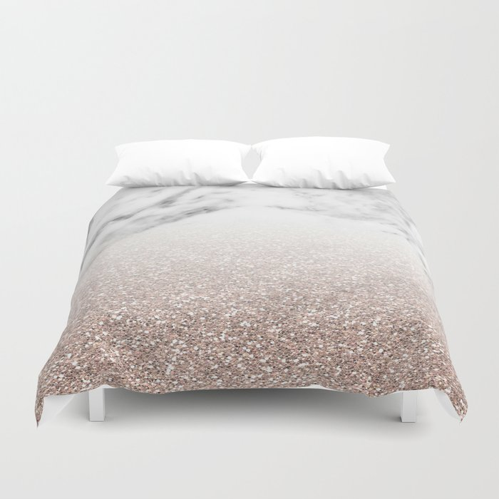 Marble Sparkle Rose Gold Duvet Cover By Marbleco Society6
