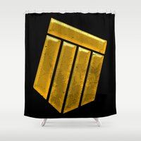 agents of shield Shower Curtains featuring Shield by Emma Harckham
