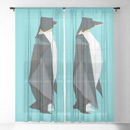 Fractal geometric emperor penguin Sheer Curtain