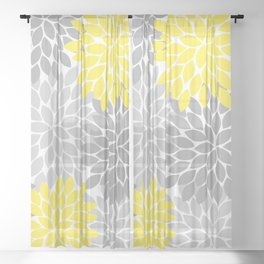 Yellow Gray Flower Burst Petals Floral Pattern Sheer Curtain