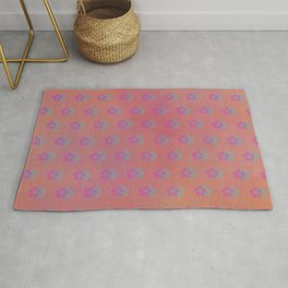 Purple And Turquoise Flower Pattern Rug