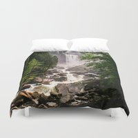 yosemite Duvet Covers featuring Yosemite Waterfall by Loaded Light Photography
