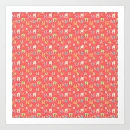 Colorful bunnies on salmon/pink Art Print
