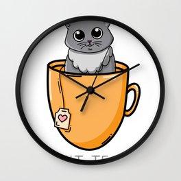 Kit- Tea Cat Kitten Lover Gift Wall Clock