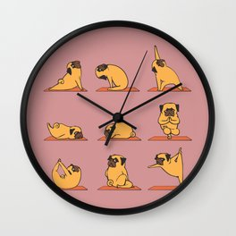 Pug Yoga In Pink Wall Clock
