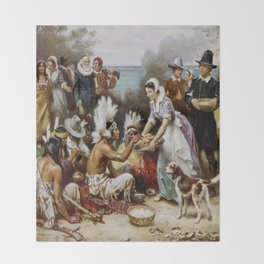 The First Thanksgiving Throw Blanket