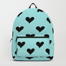 Retro Hearts Pattern Blue Backpack