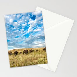 Grazing - Bison Graze Under Big Sky on Oklahoma Prairie Stationery Cards